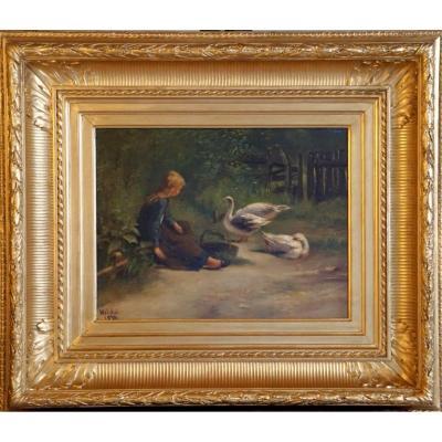 Petite Fille Aux Oies // Signée Hilda // 1876