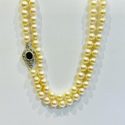 Akoya Cultured Pearls Long Necklace, Gold Clasp