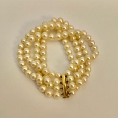 Ancien Bracelet 4 Rangs Perles De Culture Akoya. Fermoir Or