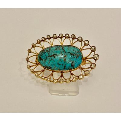 Old Gold, Turquoise And Diamonds Brooch