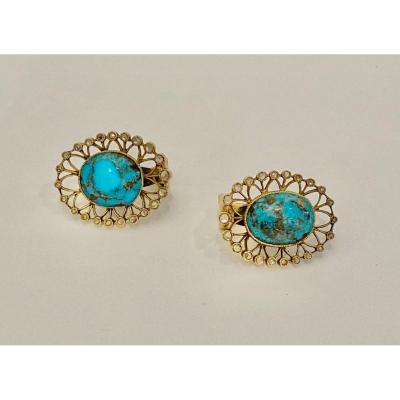 Paire De Boucles d'Oreilles Or, Turquoise Et Diamants