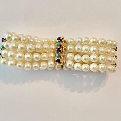 Ancien Bracelet Perles De Culture, Fermoir Or
