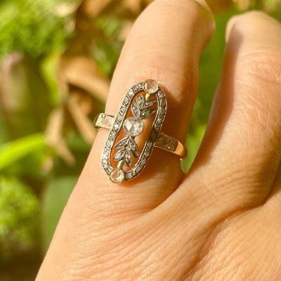 Ancienne Bague Or, Argent Et Diamants