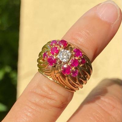 Bague Or, Platine Rubis Et Diamant