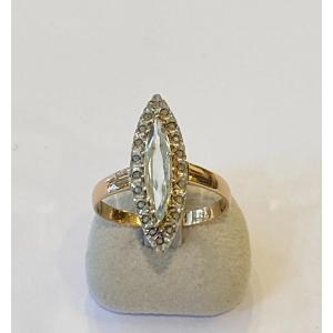 Ancienne Bague Marquise En Or, Quartz Et Diamants Taille En Rose