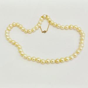 Ancien Collier Perles De Culture, Fermoir Or