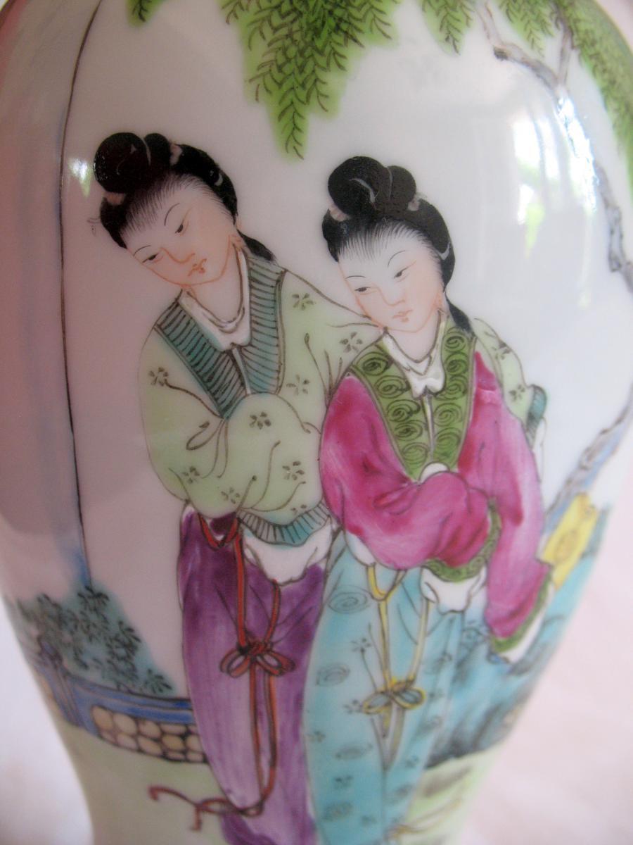 Vase couvert en porcelaine. Décor de personnages et chien de fô. Chine, XIXème-photo-4