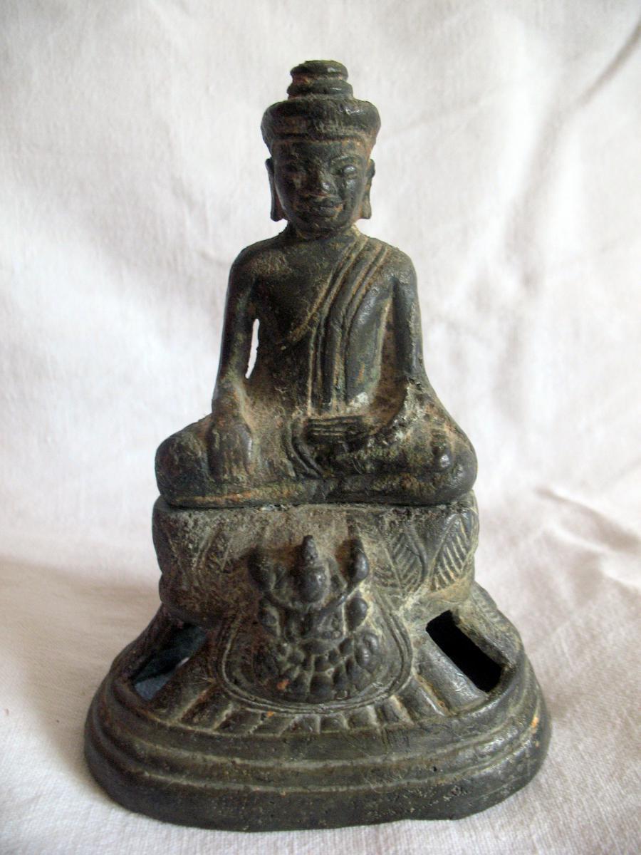 Buddha In Bronze. Empire Khmer. Cambodia, XVIIIth Century