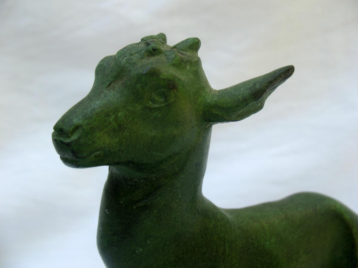 Statuettes en régule, représentant des chevreaux, signée Robert Bousquet (1894-1917)-photo-1