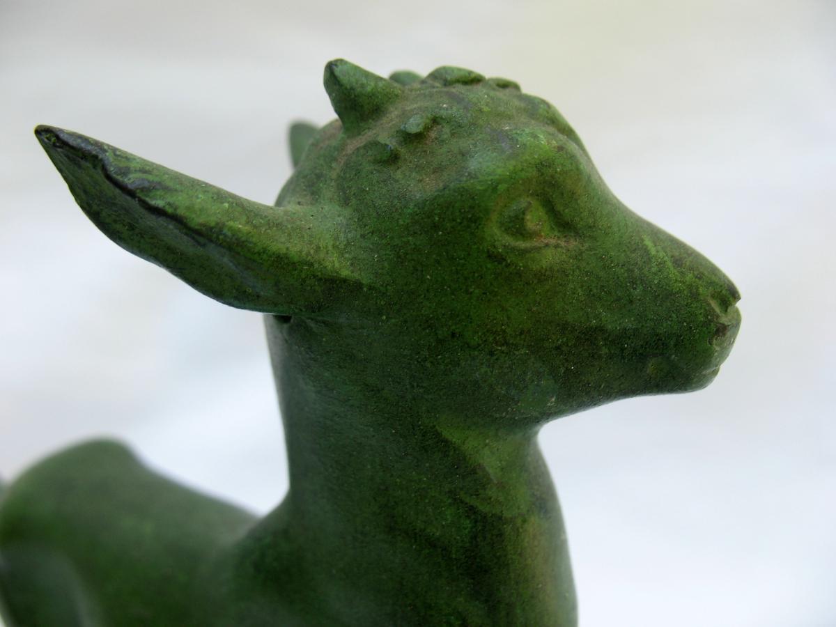 Statuettes en régule, représentant des chevreaux, signée Robert Bousquet (1894-1917)-photo-2