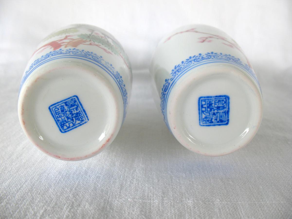 Deux vases signés en porcelaine coquille d'oeuf. Décor de grues. Chine, années 40-photo-6