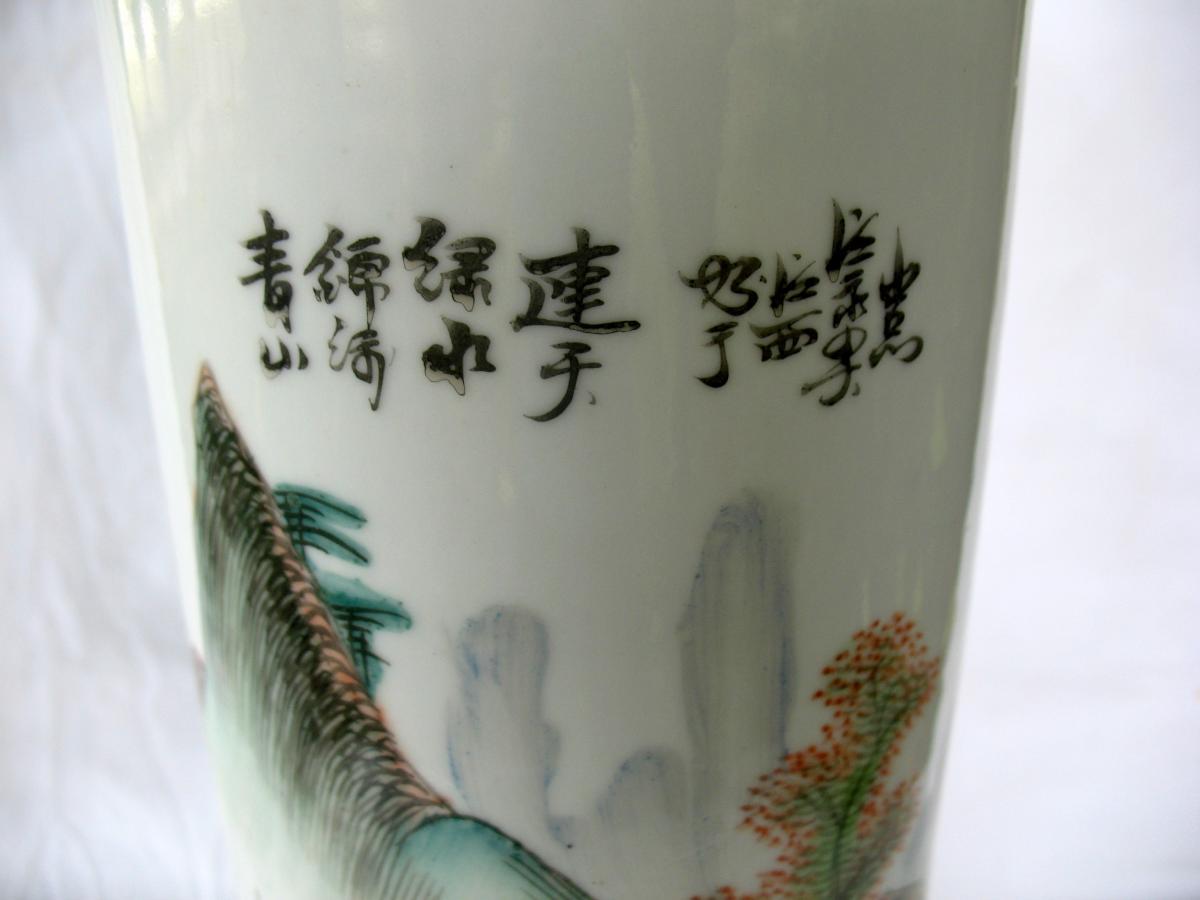 Vase rouleau en porcelaine de Chine. Décor paysage et pêcheur. Début XXème-photo-4