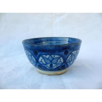 Old Bowl Ceramic Signed Serghini De Fès. Morocco Late Nineteenth Early Twentieth