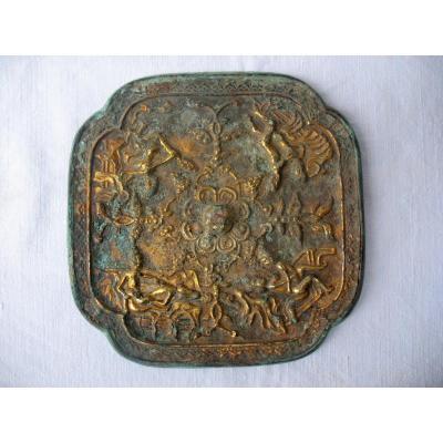Miroir Chinois en bronze archaïque. Scènes érotiques. Dynastie Qing