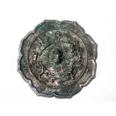 Ancien miroir en bronze et argent de style Tang, Chine archaïque, scènes de chasse