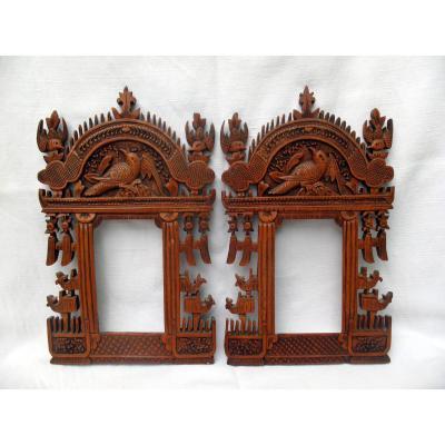 Paire de cadres porte-photos en bois sculpté. Décor aux oiseaux. Chine, fin XIXème