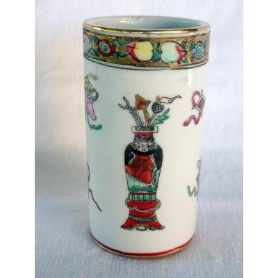 Pot à pinceaux, bitong en porcelaine. Chine, fin XIXème - début XXème