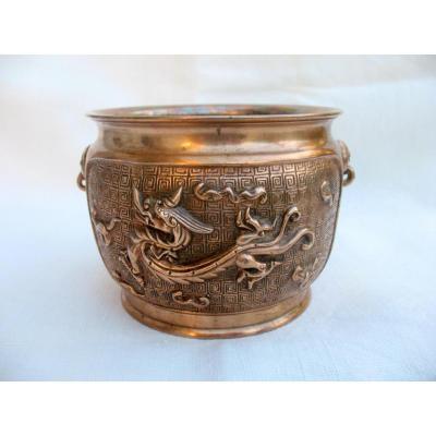Bol à offrandes en bronze. Décor aux dragons. Chine, XIXème siècle