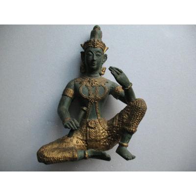 Statue En Bronze Apsara Musicien Debut XXeme