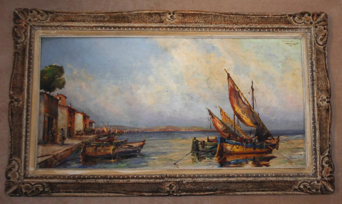 Painting By Marcel Abougit. Fishing Boats At Anchorage.