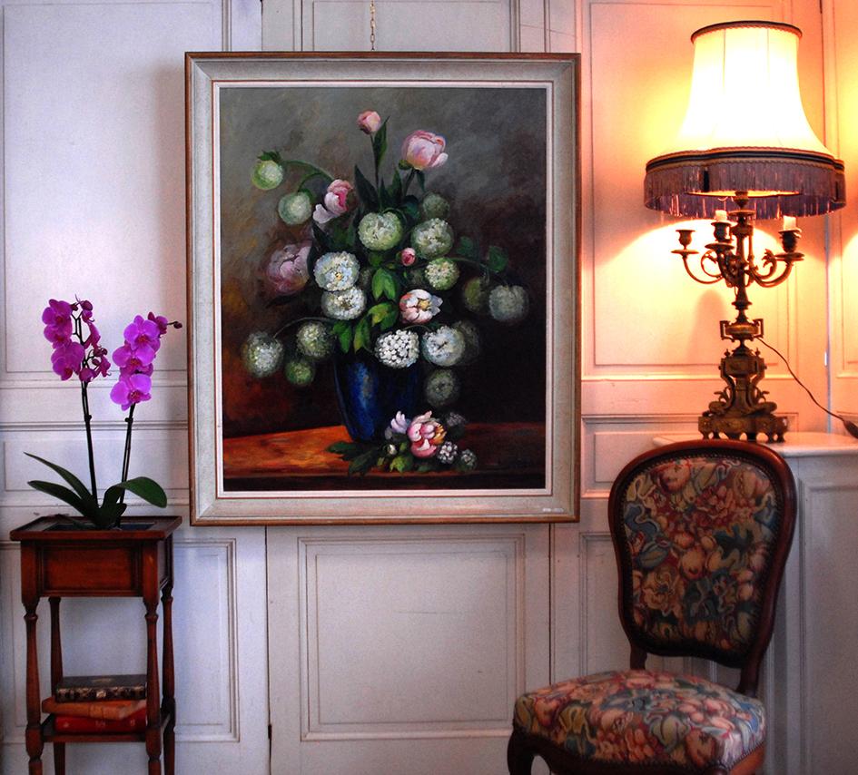 Tableau, Peinture huile sur toile, Bouquet De Fleurs ,Signé Clavaud.