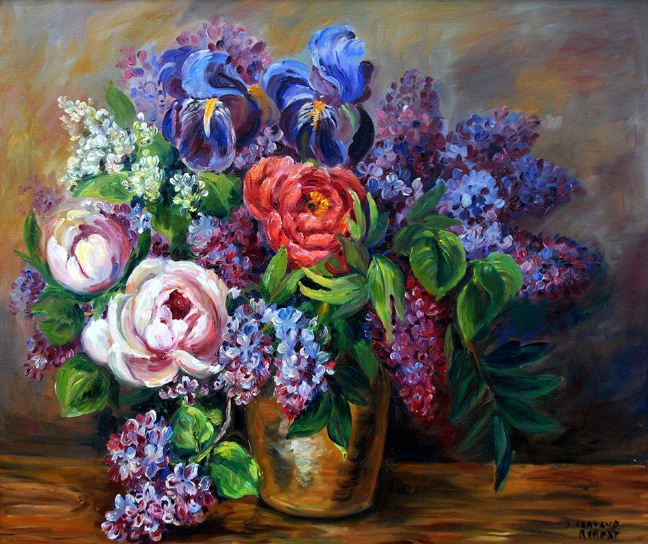 Tableau, Peinture Bouquet De Fleurs Signé Clavaud.