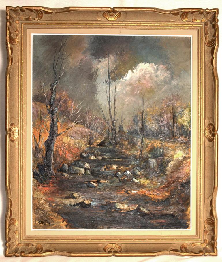 Tableau, Peinture Paysage Fôret Et Cours d'Eau.