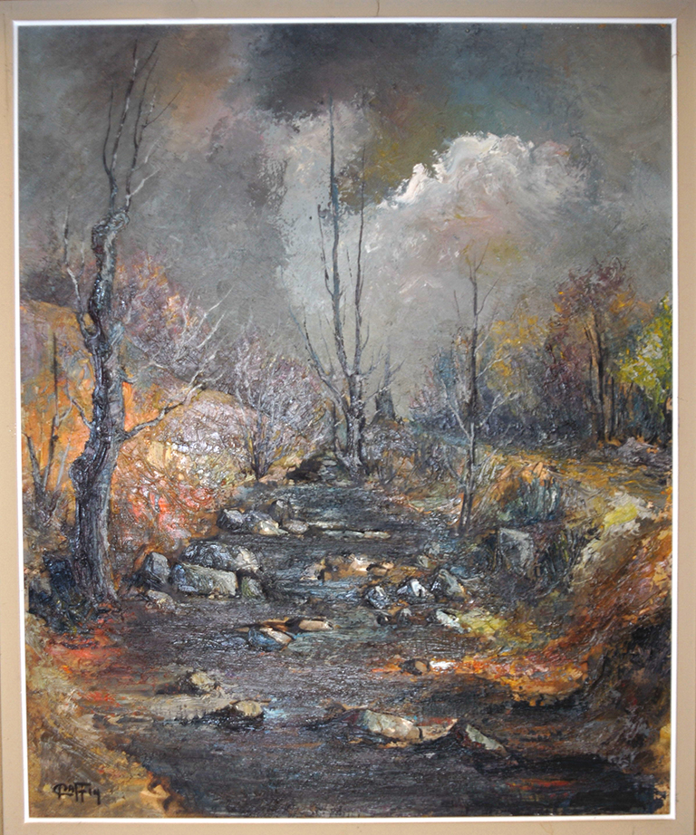 Painting Landscape Forest And Water Courses.-photo-2