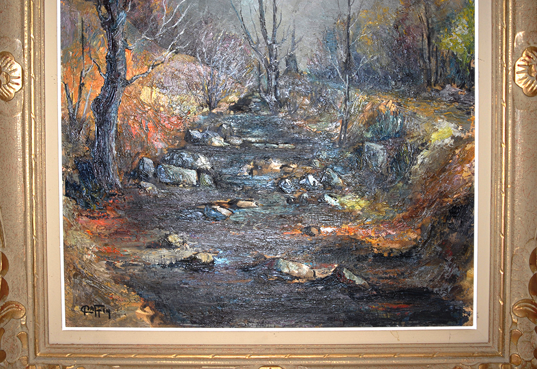 Painting Landscape Forest And Water Courses.-photo-3