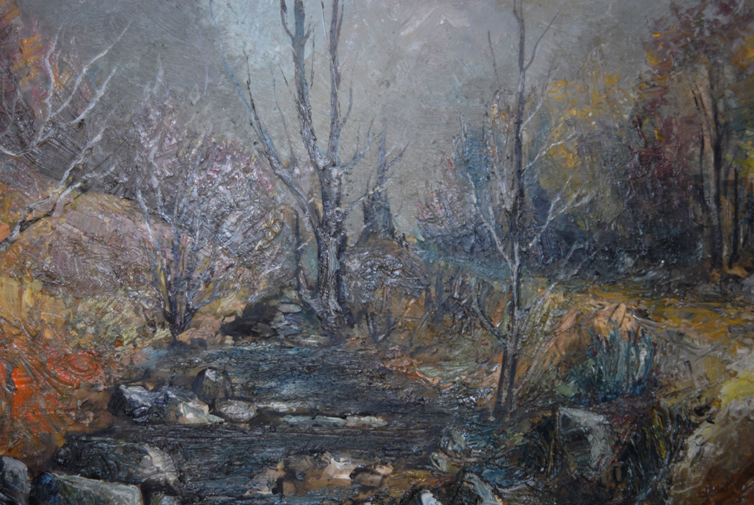 Painting Landscape Forest And Water Courses.-photo-4