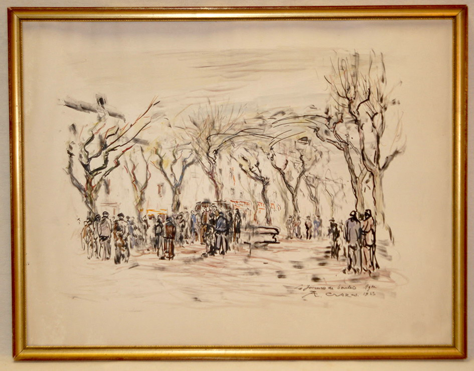 """Watercolor, Jean Crozes """"the Players Of Boules"""" 1953."""