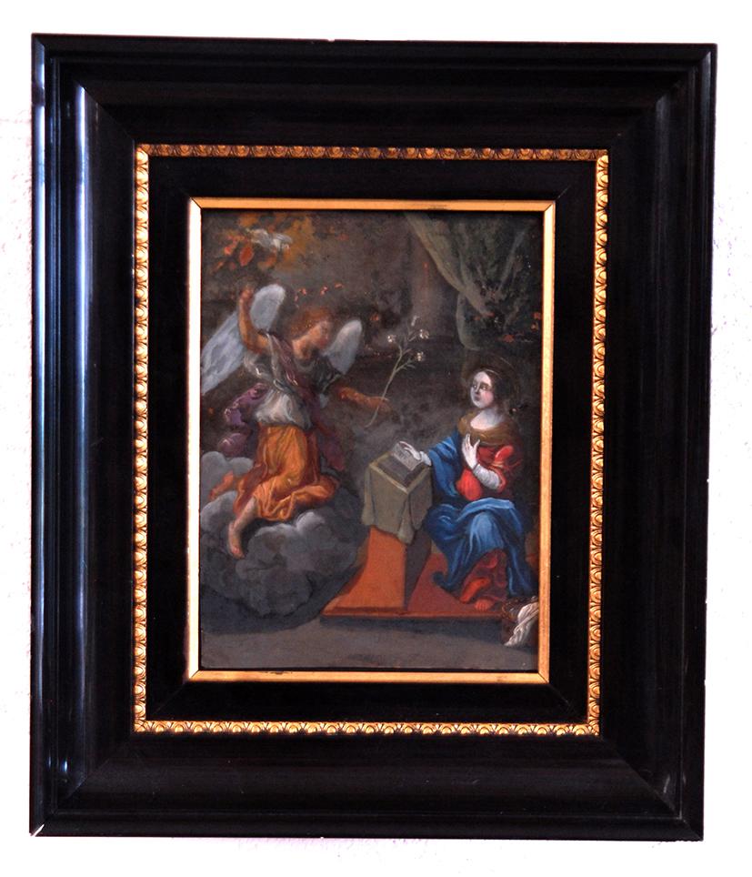 peinture huile sur cuivre annonciation fin xvii eme d but xviii eme tableaux religieux. Black Bedroom Furniture Sets. Home Design Ideas