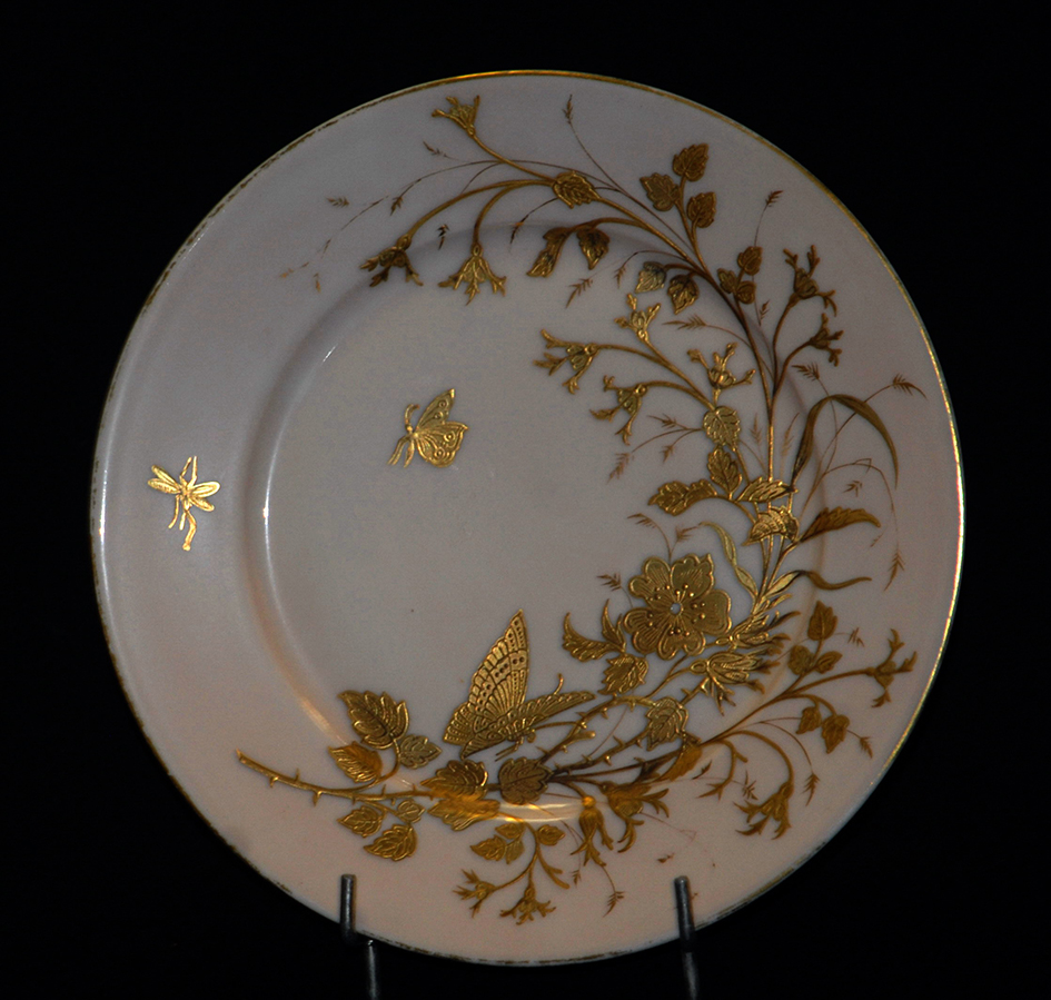 Assiette Décorative en Porcelaine De Limoges Art Nouveau , Decor Peint Main à La Pâte d'Or