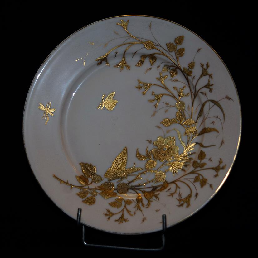 Assiette Décorative en Porcelaine De Limoges Art Nouveau , Decor Peint Main à La Pâte d'Or-photo-2