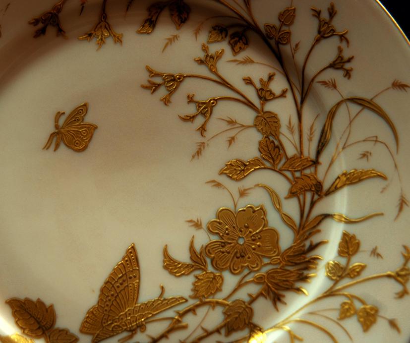 Assiette Décorative en Porcelaine De Limoges Art Nouveau , Decor Peint Main à La Pâte d'Or-photo-3