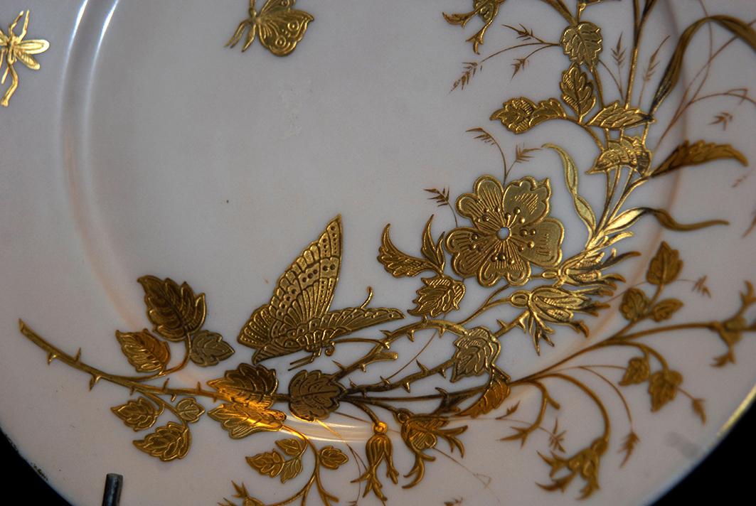 Assiette Décorative en Porcelaine De Limoges Art Nouveau , Decor Peint Main à La Pâte d'Or-photo-4