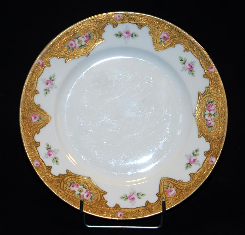 Assiette En Porcelaine De Limoges Décor Peint Main, Et Pâte d'Or.-photo-3