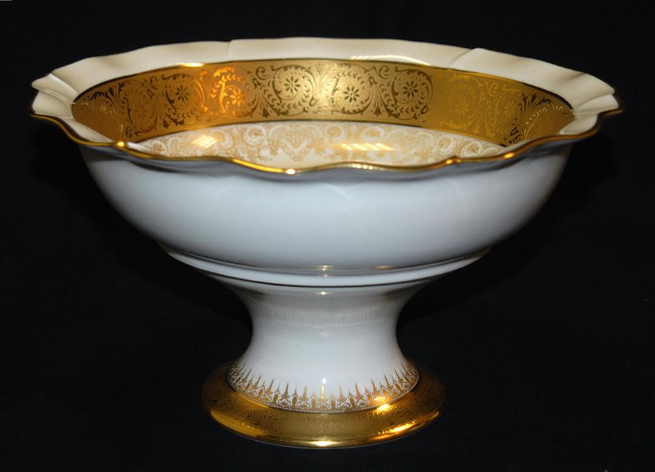 Grande Coupe Sur Pied En Porcelaine De Limoges, Double Incrustation Or, Ateliers  Malevergne.-photo-2