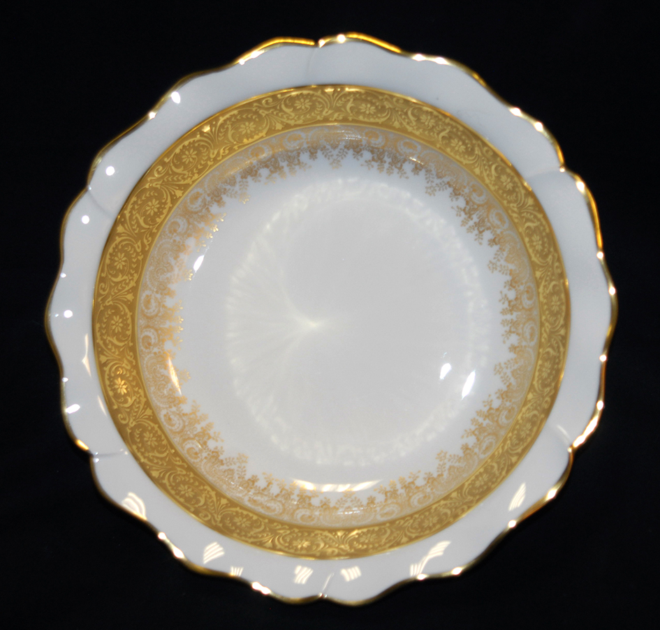 Grande Coupe Sur Pied En Porcelaine De Limoges, Double Incrustation Or, Ateliers  Malevergne.-photo-1