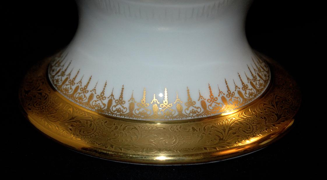 Grande Coupe Sur Pied En Porcelaine De Limoges, Double Incrustation Or, Ateliers  Malevergne.-photo-6