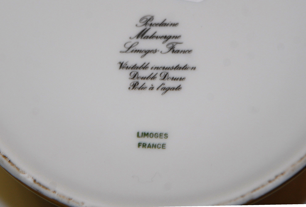 Grande Coupe Sur Pied En Porcelaine De Limoges, Double Incrustation Or, Ateliers  Malevergne.-photo-8