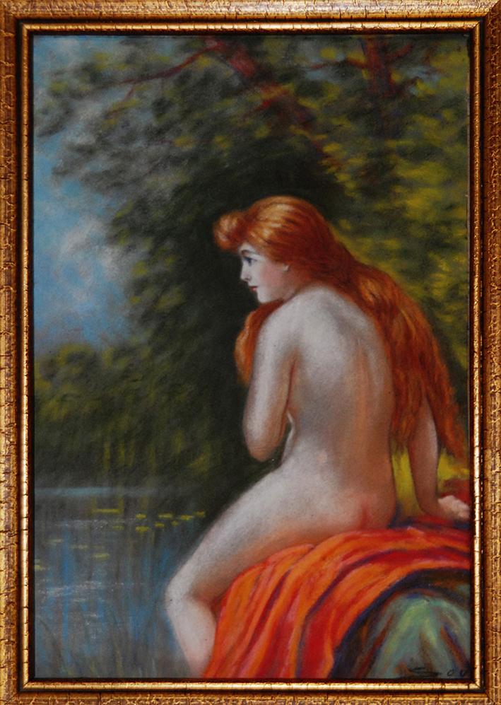 Pastel Encadré, Antoine Soustre, Jeune Femme Nue