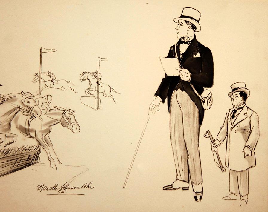 Gravure De Fernand Fernel, Numéro De Cirque, Gala De l'Union, Marcelle Jefferson Coha.