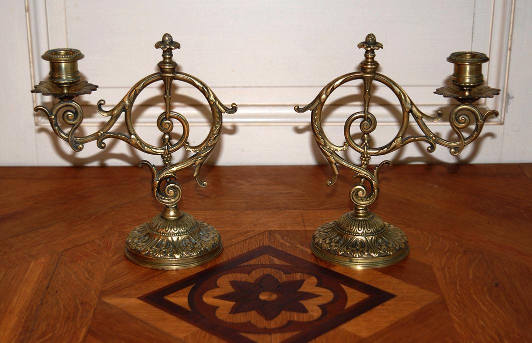 Paire De Bougeoirs En Bronze Doré, XIX.