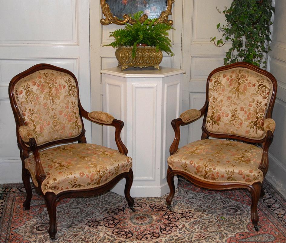 Pair Of Louis XV Style Armchairs, XIX Eme, Mahogany.