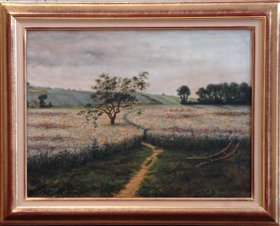 Peinture Huile Sur Toile, Tableau Paysage Champêtre