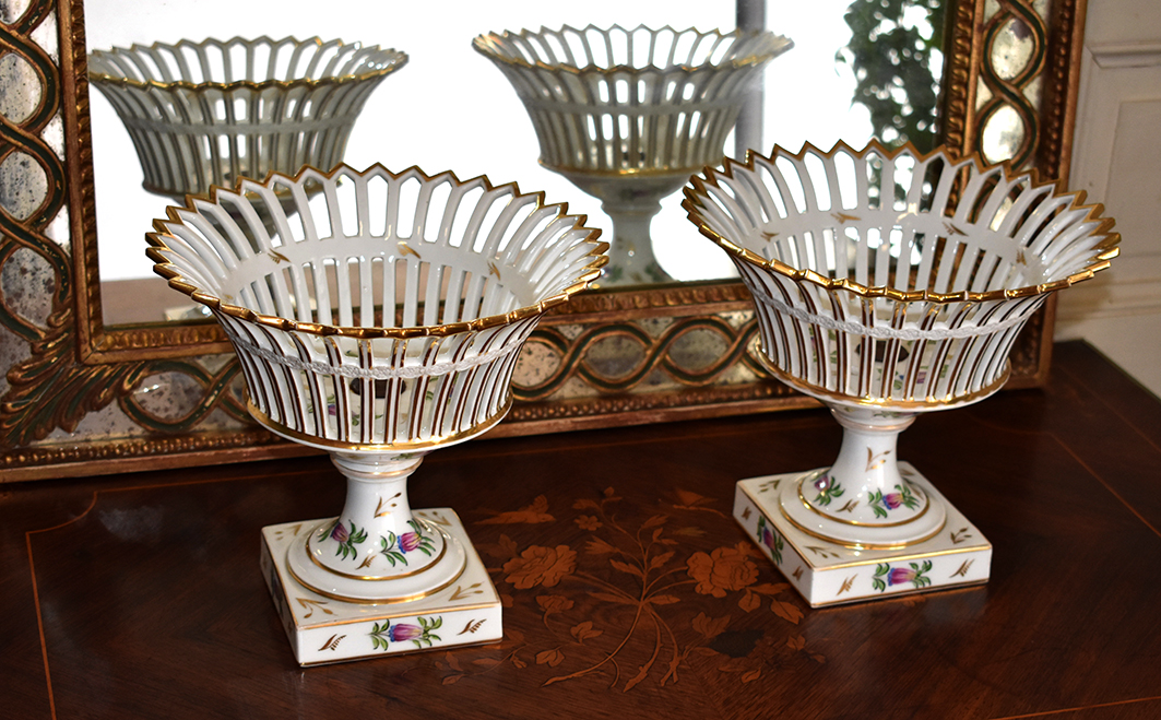 Pair Of Porcelain Cups With Openwork Baskets, Nineteenth.