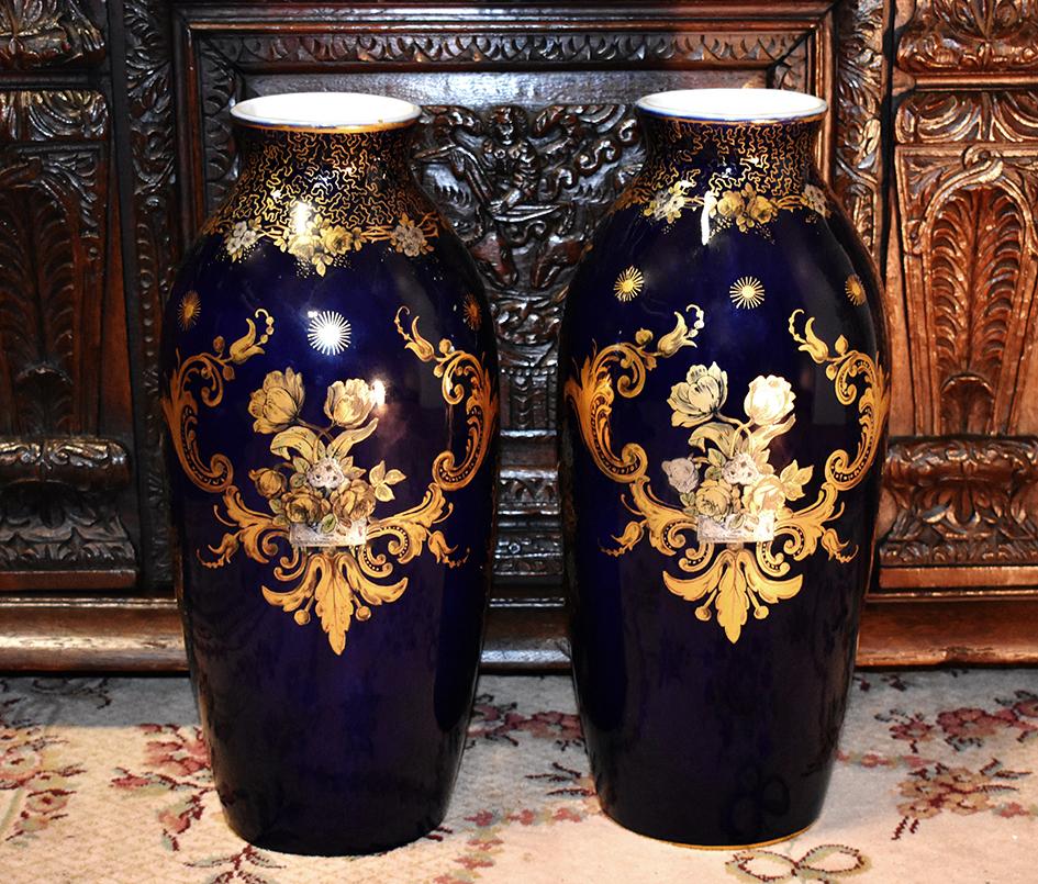 Grande Paire De Vases En Porcelaine,  Bleu De Four, Guérin Limoges ,