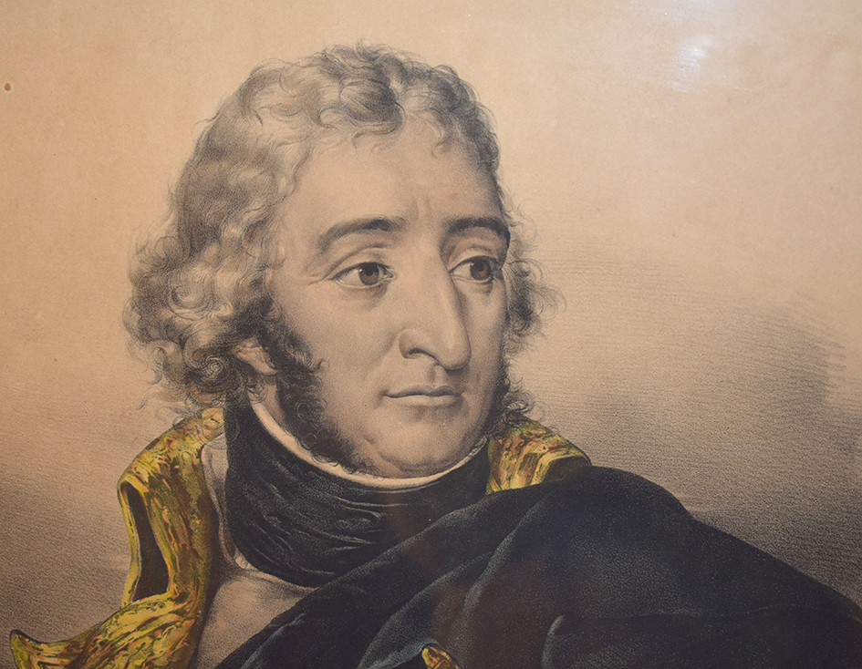 Lithography Of Marechal Augereau Duke Of Castiglione By Alops Senefelder, Nineteenth