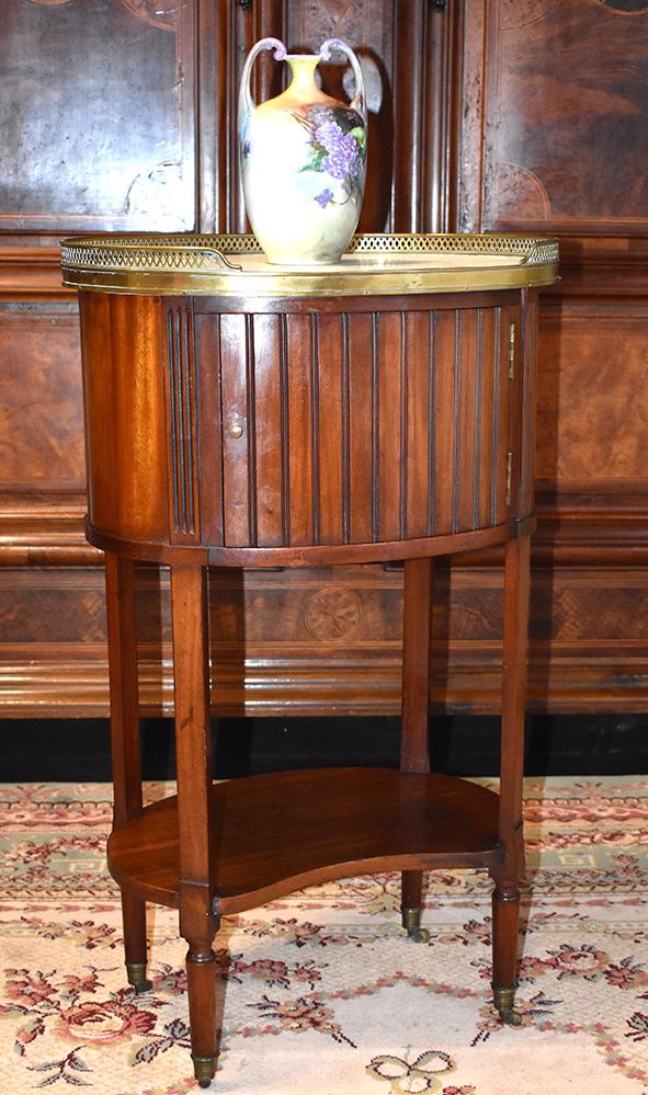 Small Salon Side Table, Drum Shape, Mahogany Bedside.